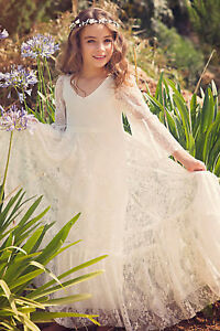 5dd1e8488 Image is loading Ivory-Lace-Flower-Girl-Dress-Pageant-Communion-Party-