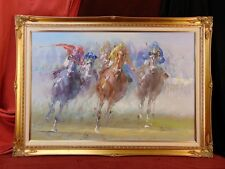 Fine Art Painting HORSE RACING JOCKEYS HOME STRETCH Gilt Wood Frame Signed P17