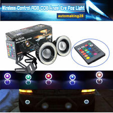 "2X 3"" inch RGB LED Fog Lights COB with White Angel Eyes Halo Ring Car Auto 12V"