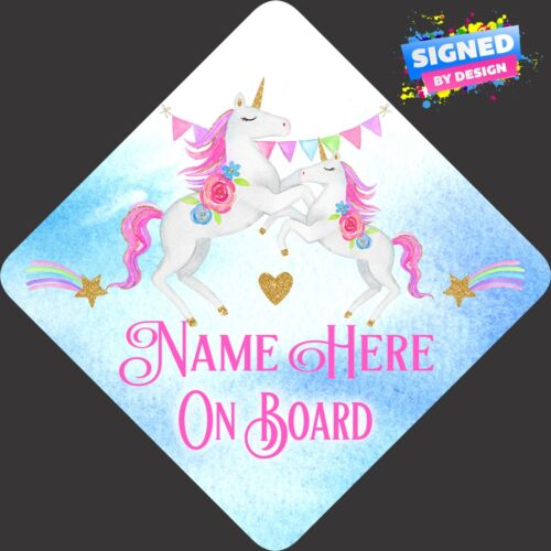 Personalised Unicorns Baby Child//Baby on Board Car Sign New ~ Pastel Pin /& Blue
