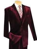 Men's 3pc Burgundy Velvet Classic-fit Suit W/ Matching Vest