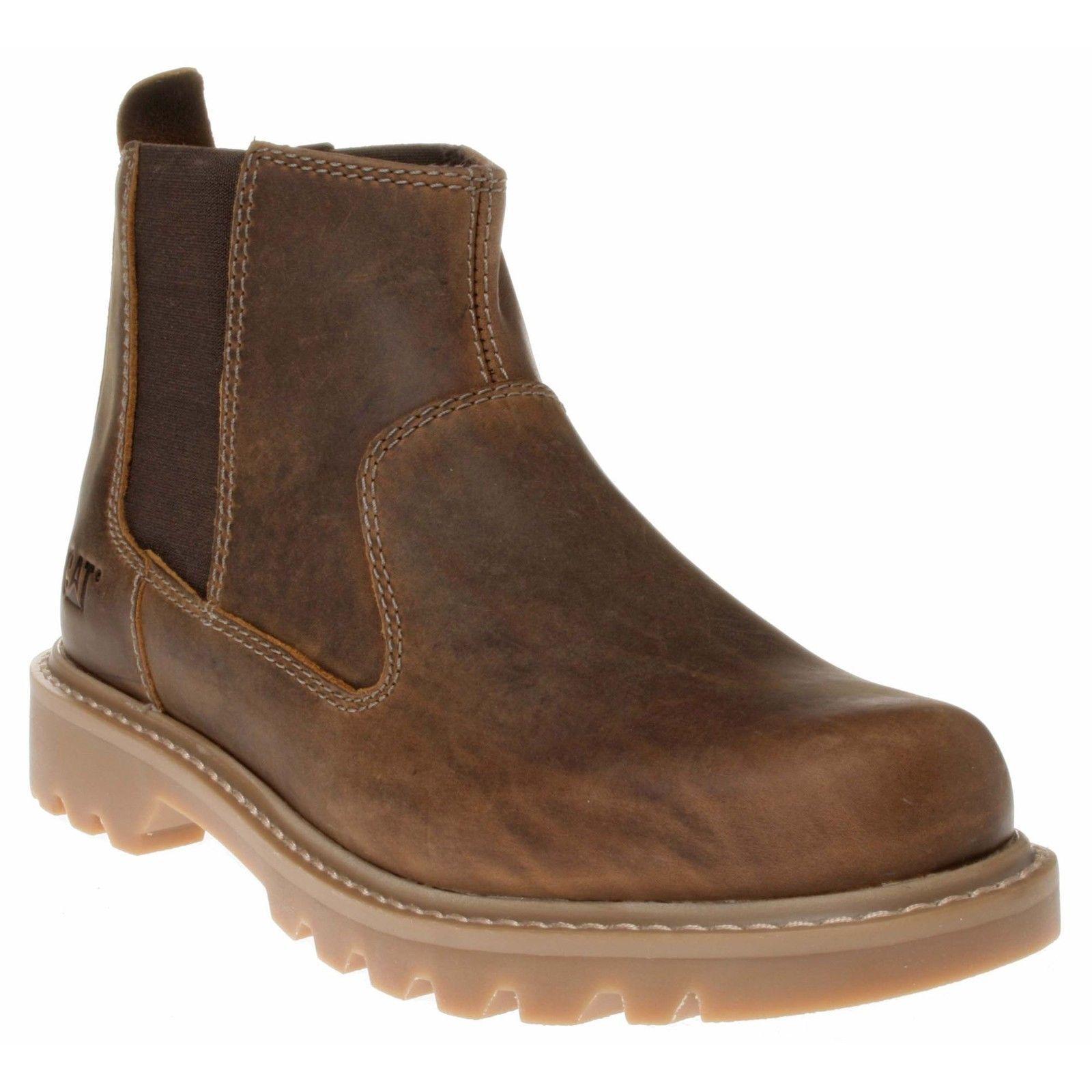 Casual salvaje Mens tamaño Caterpillar Drysdale Tire de cuero elástico Distribuidor Chealsea Boots