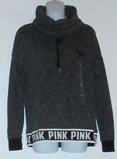 Victoria's Secret Pink French Terry Marled Logo Cowl Neck Pullover Gray M NWT