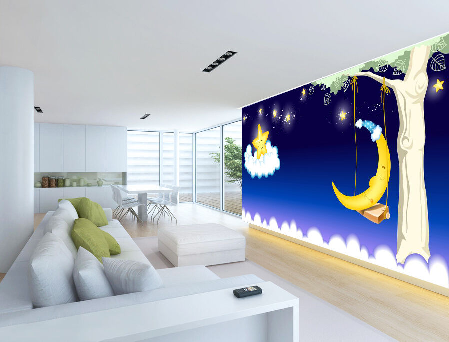 3D star moon Swing wall Paper Print Decal Wall Deco Indoor wall Mural