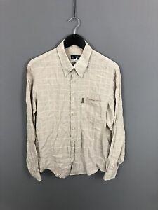Armani-camisa-tamano-grande-Lino-check-Excelente-Estado-Para-Hombre