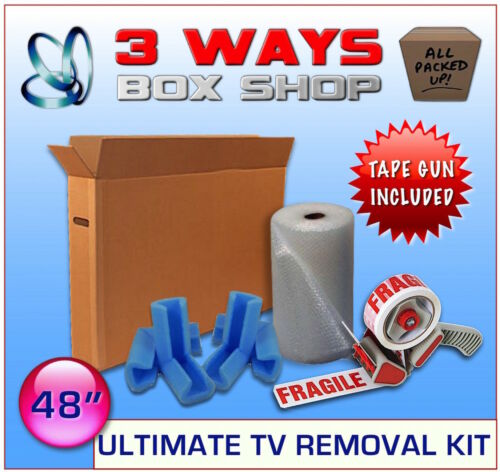 48 Inch TV ULTIMATE Cardboard Removal Box Kit Tape /& Hand Tape Gun Bubble Wrap