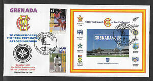 GRENADA 2000 LORD'S CRICKET 100th TEST MATCH 2v & S/Sheet FIRST DAY COVER