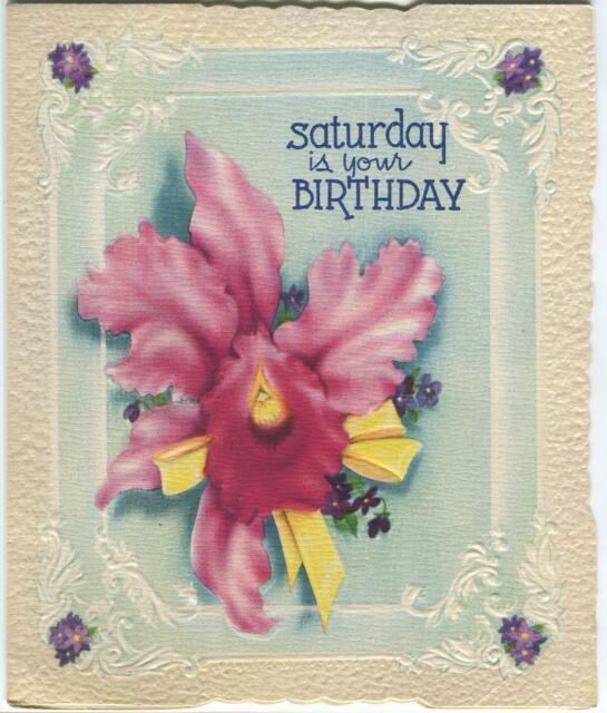 Vintage Old Fashioned Orchid Violet Flower Saturday Birthday