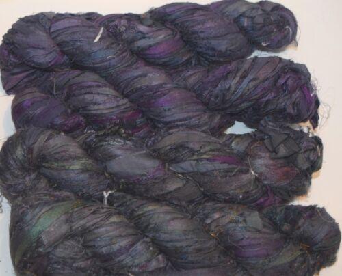 100g Sari Silk Ribbon craft ribbon yarn jewelry making Dark Gray Purple
