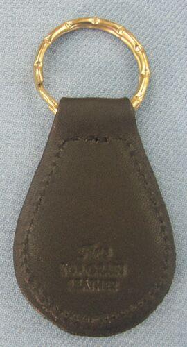 Vintage PACKARD Large Emblem Black Leather Goldtone Keyring 1948 1949 1950 1951