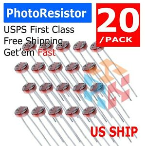 20 pc 5mm Photoresistor GL5528 LDR Photo Resistor - USA sold/ship