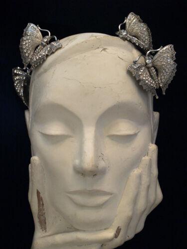Lot de 4 Vintage Argent Papillon Cristal Cheveux Peignes-Mariage Soirée