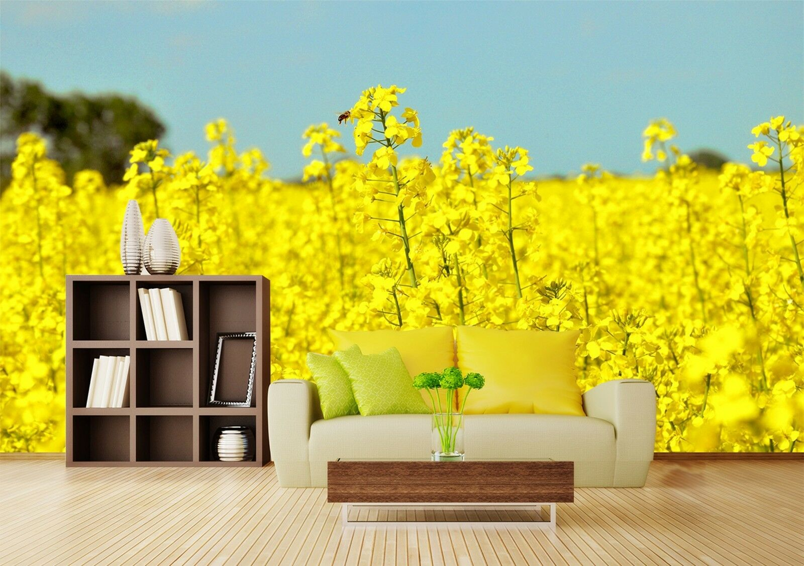 3D Rape field Wall Paper wall Print Decal Wall Deco Indoor wall Mural