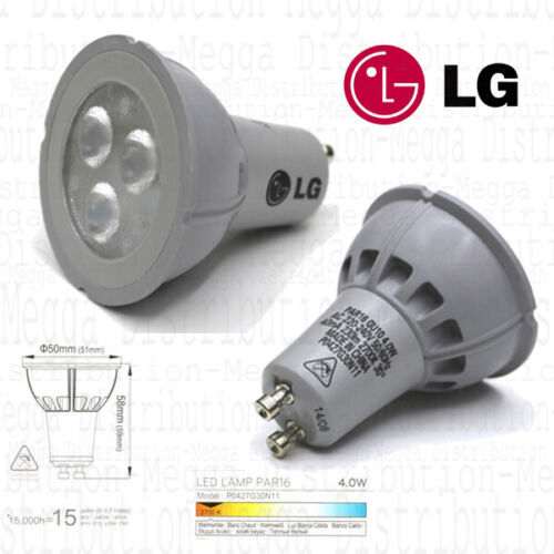 "12 x LG 4w Energy Saving LED GU10 Spot Light Bulb// Lamp 2700k */""*15 YEAR LIFE*/""*"