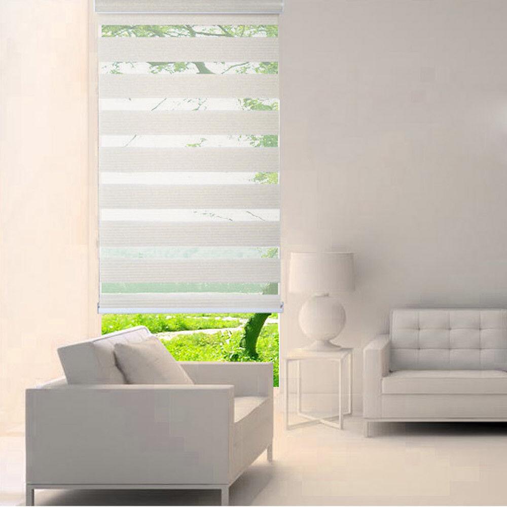 Tamaño personalizado a Ventana blancoa Horizontal sombra ciego Cebra Doble persianas H82