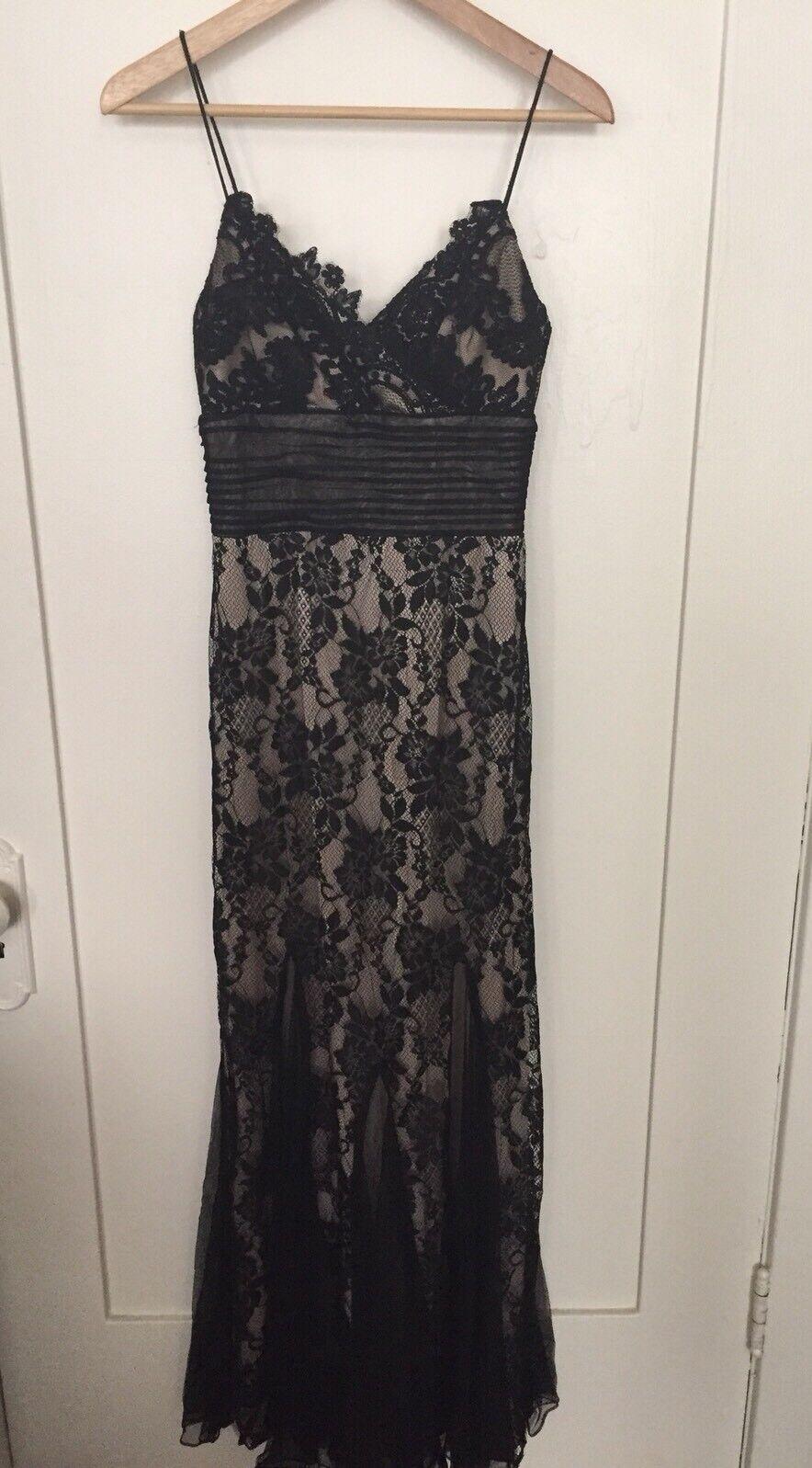 CACHE schwarz Lace Overlay Spaghetti Strap Evening Gown Prom Dress Größe 4