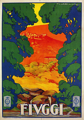 TV83 Vintage 1928 FIUGGI Lazio Italian Italy Tourism Travel Poster Re-Print A4