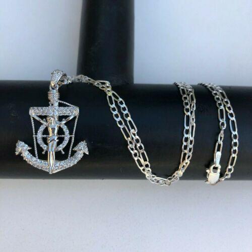 Argent Sterling 925 nautique Jésus Ancre crucifix pendentif W 20; collier long