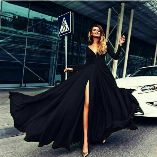 Women Formal Cocktail Sleeve Neck Dress Gown Long V Ball Evening Party Prom