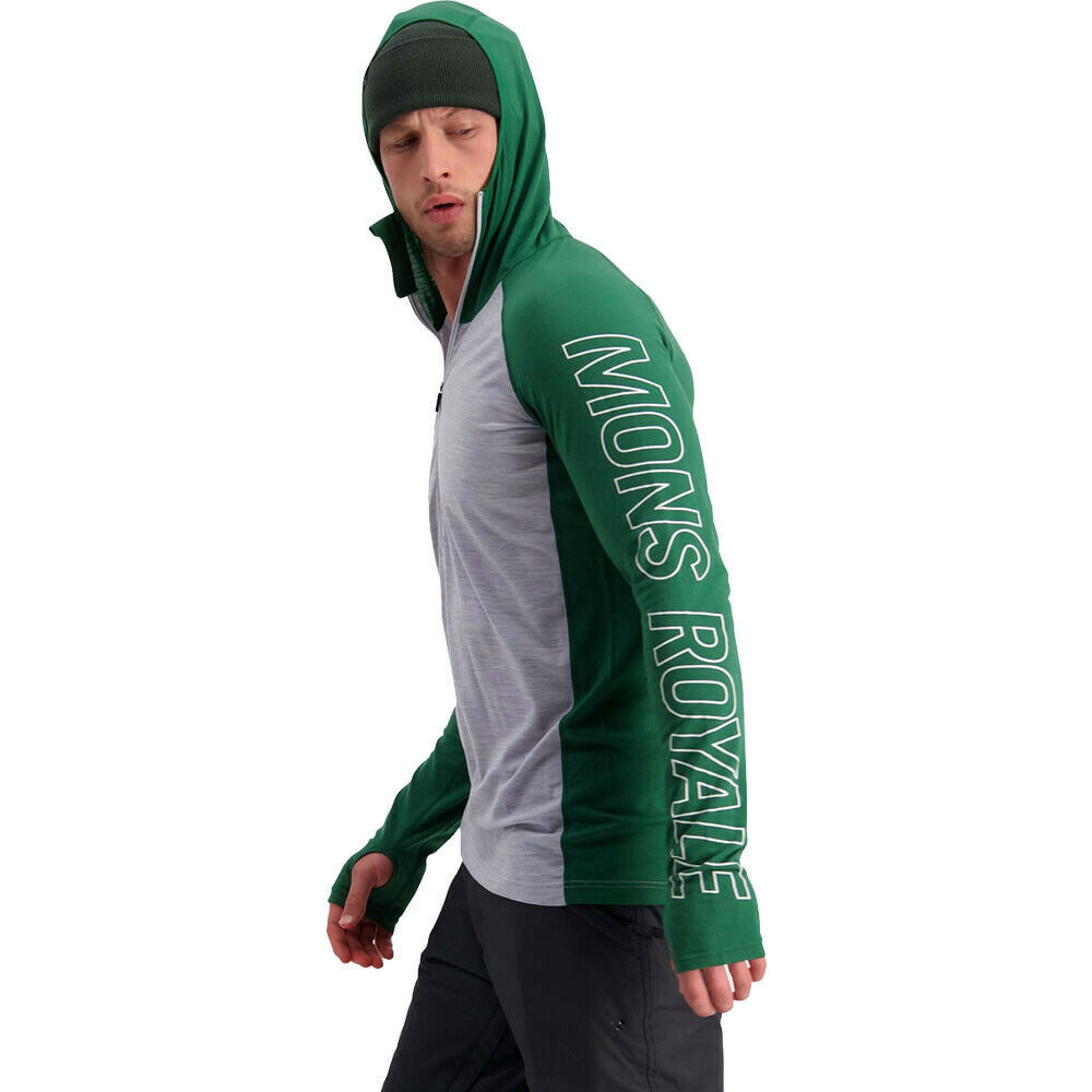 Mons Royale Mens Temple Tech Hoodie - Green Grey Sports Running Outdoors