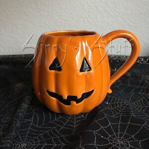 Pottery Barn Halloween Pumpkin Jack O Lantern Mug Coffee