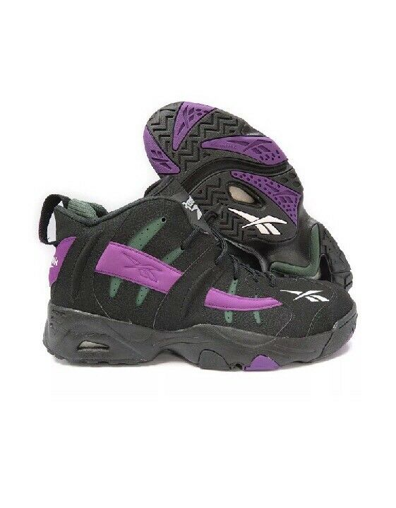 [V54958] REEBOK RAIL BLACK PURPLE MENS SNEAKERS SIZE 10 Unique Sneaker Shoe