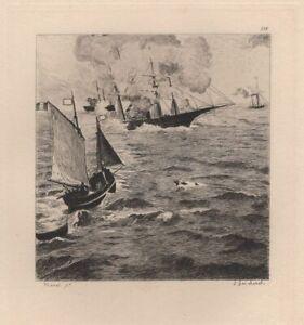 Edouard-Manet-Cherbourg-Marine-Combat-Naval-Alabama-Kerseage-eau-forte-Gaucherel