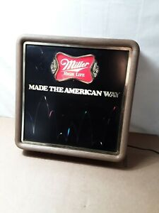 Miller-High-Life-American-Way-Lighted-Revolving-Motion-Sign-Bouncing-Ball-Tested