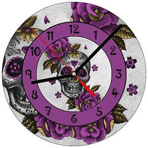 8-034-WALL-CLOCK-Sugar-Skull-16-Dia-de-los-Muertos-Day-of-the-Dead-Halloween