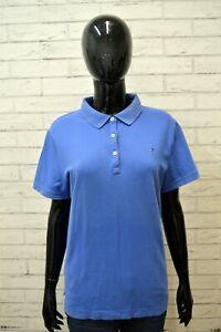 Polo-Blu-Donna-TOMMY-HILFIGER-Taglia-L-Camicia-Maglia-Manica-Corta-Shirt-Woman