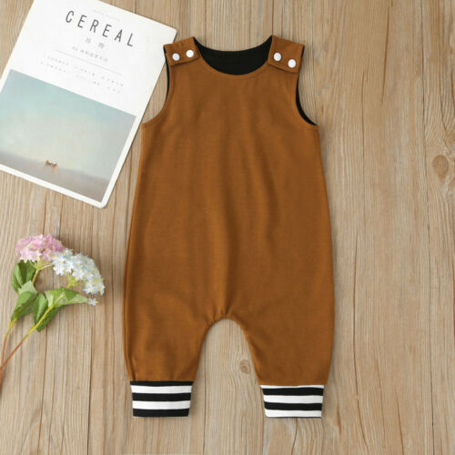 Infant Baby Boys Girls 3M-18M Summer Sleeveless Solid Romper Jumpsuit Clothes