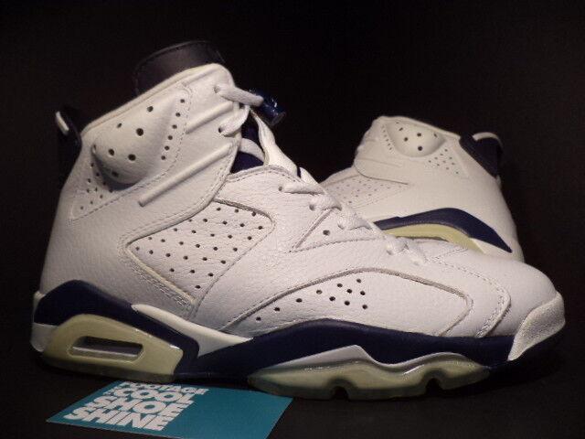 2000 Nike Air Jordan VI 6 Retro + WHITE MIDNIGHT NAVY BLUE BLACK 136038-141 9.5