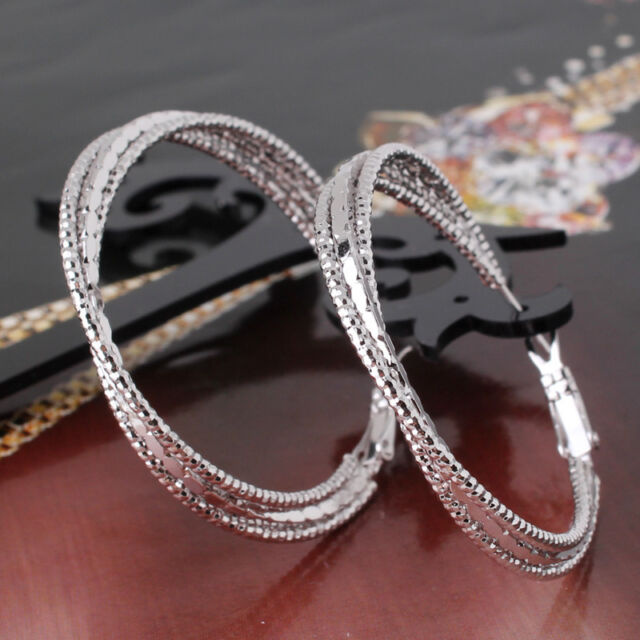 Infinity Love 18k white gold filled promise lady wedding hoop earring