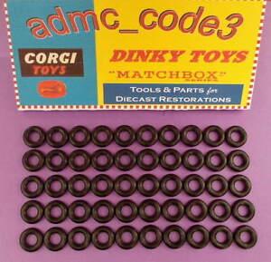 50-X-Negro-Liso-Neumaticos-Dinky-Coches-Vans-15mm-cabra-algunos-otros-Corgi-Etc