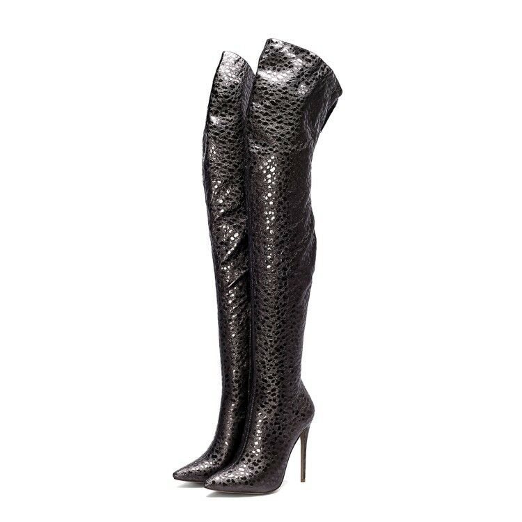 Womens Pointed Toe Thigh Boots Pumps Stiletto High Heel Over the Knee Nightclub