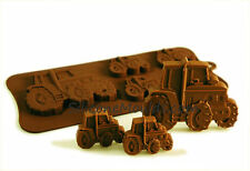 4+1 Tractor Farm Vehicle Chocolate Candy Cookie Silicone Bakeware Mould Wax Soap