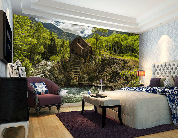 Crystal Mill River Cabin Full Wall Mural Photo Wallpaper Print Home 3D Decal