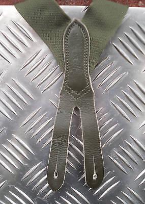 Autentico Esercito Tedesco Verde Elastico Bretelle Con Pelle Fibbie Regolabili Taglia M-mostra Il Titolo Originale