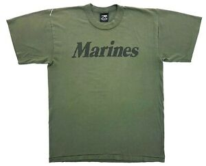 Vintage Marines Core Tee Olive Green Size L Distressed Single Stitch T-Shirt
