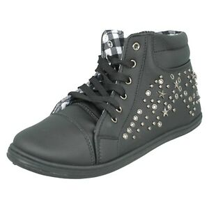SALE WOMENS LADIES F8R957 LACE UP HI TOP TRAINERS  FLAT ANKLE BOOTS SPOT ON SIZE