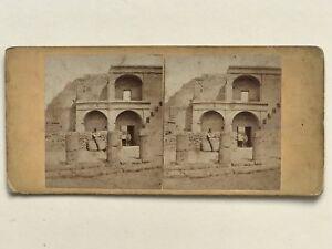 Pompei Ruines Italia Foto Stereo Vintage Albumina c1865