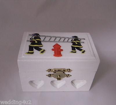 Wedding Ceremony Party Fireman Firefighter Custom Ring Bearer Box Red Velvet