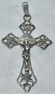 Vintage Cross Religious Necklace Silver NC 902