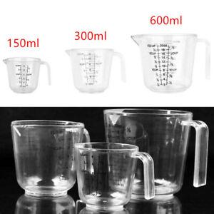 3Pcs Clear Plastic 150/300/600ml Measuring Cups Pitcher w/Handle&Spout Kitchen