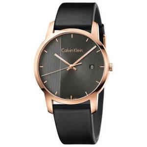 Calvin-Klein-Men-039-s-Watch-City-Quartz-Grey-Dial-Black-Leather-Strap-K2G2G6C3