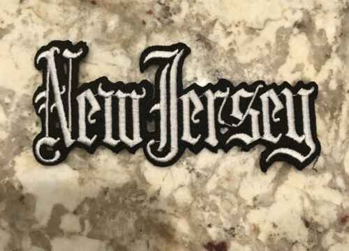 """VINTAGE IRON ON EMBROIDERED NEW JERSEY PATCH 5/""""x 2/"""" NICE!"""