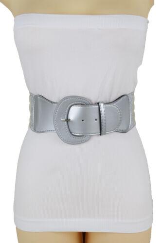 Fancy Women Wide Elastic Waistband Metallic Silver Belt Bling Round Buckle M L
