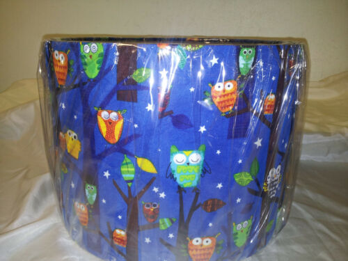 Forest fun spring owls LAMPSHADE MADE FROM ROBERT KAUFMAN  FABRIC .