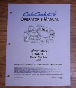 cub cadet 2206 lawn garden tractor operators manual ebay rh ebay com cub cadet 2206 parts manual Cub Cadet Model 2130