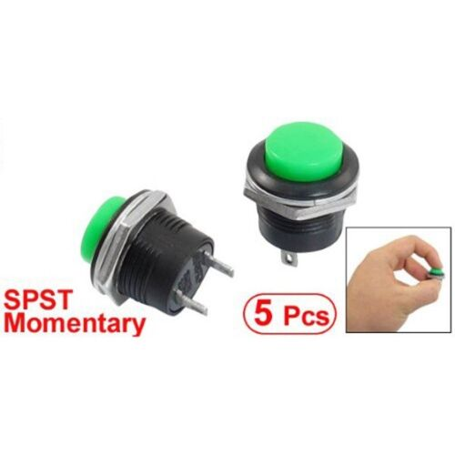 5 x Momentary SPST NO Green Round Cap Push Button Switch AC 6A//125V 3A//250V SS
